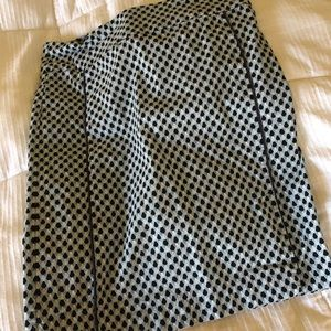 Knee length skirt with navy, green, white print